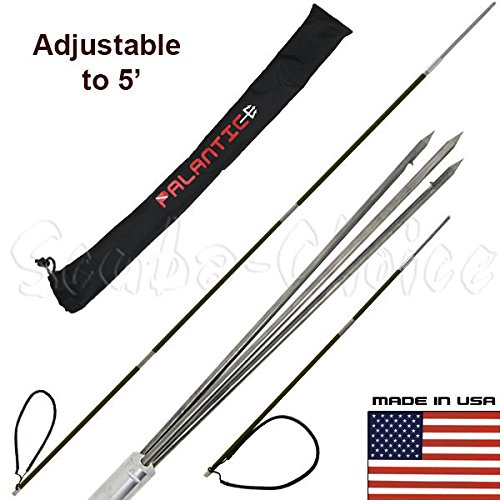 Scuba Choice Carbon Fiber 7' Travel Spearfishing Pole Spear 3 Prong Barb Paralyzer Tip Adjustable to 5' with Bag (3-Piece) (3 Speer)