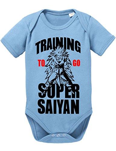 Son Baby Gohan Kostüm - Goku Long Strampler Body Dragon Master Son Ball Vegeta Turtle Roshi DB, Größe:68;Farbe:Babyblau