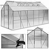 Aluminium Gewächshaus 11,73m³ Treibhaus Gartenhaus Frühbeet Pflanzenhaus Aufzucht 380x190cm ✔ Modellauswahl ✔verschiedene Größen ✔Fundament optional auswählbar