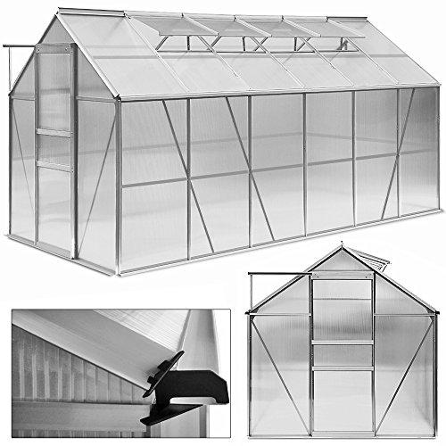 Deuba Aluminium Gewächshaus 11,73m³ Treibhaus Gartenhaus Frühbeet Pflanzenhaus Aufzucht 380x190cm  Modellauswahl verschiedene Größen Fundament optional auswählbar