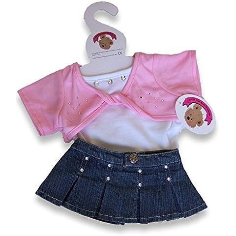 Desarrolle sus osos Armario 15 pulgadas oso Ropa Fit Build Oso torcedura Top y Falda Denim Outfit oso de peluche Ropa (rosa)