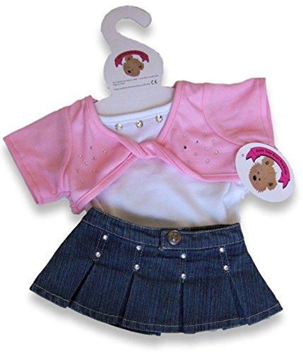 Build Your Bears Wardrobe - Set di abiti per orsacchiotti da 38 cm, con minigonna di jeans, maglietta e coprispalle rosa incrociato