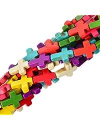 16mm Granos Sueltos Abalorios Forma Cruz Accesorio para Joyas Bricolaje Multicolor 16''