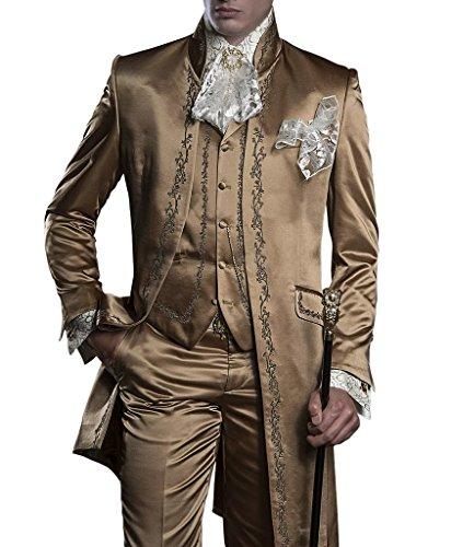 Suit Me uomini retr¨° lunghi 3 pezzi pantaloni maglia del collare tuta permanente ricamo smoking giacca Marrone
