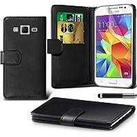 Generic 5053618926007 Lederetui Buch-Stil Handy Hülle mit Displayschutzfolie und Eingabestif für Samsung Galaxy Core Prime schwarz