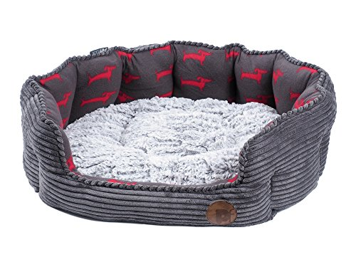 Petface Deli Bamboo and Jumbo Cord Bed for Dogs/Cats, Small, Grey Best Price and Cheapest