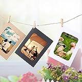 Diadia Glitzer-Dekorationen für Geburtstagsfotos, Kreative Mini-Papier, Fotorahmen zum Aufhängen, Fotorahmen, Fotozubehör, mit Seil und Clips, 10 Stück, 7,6 cm weiß