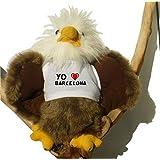 Águila calva de peluche con Amo Barcelona en la camiseta (ciudad / asentamiento)