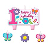 Sweet 1st Birthday Girl Candle Set (4 Pa...