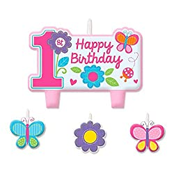 Sweet 1st Birthday Girl Candle Set (4 Pack)