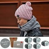 DIY Strickset Mütze und Schal * Loop und Mütze Set stricken * Mütze selber stricken * im Set enthalten sind 5 Knäuel Merinowolle + Strickanleitung + 2 MyOma-Labels * Wolle in der Farbe stein (Fb 3021)