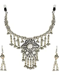 Chandrika Pearls Navratri Garba Dandia Tribal Design Boho Pattern Oxidised Jewellery Set For Girls & Women