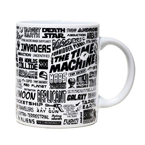 Tasse mug petit-déjeuner de porcelaine blanche 30 cl. Modèle Science-fiction