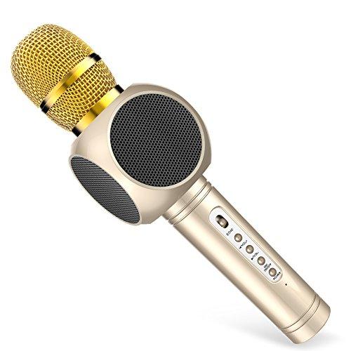 Mikrofon für Karaoke Kinder, MODAR Karaoke Mikrofon Bluetooth 3,0 Lautsprecher, Aufnahme von Gesang für Singen und Musik hören, Tragbares drahtloses Microphone schönes Geschenk für Kinder, Gold