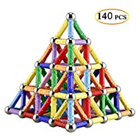 McDou 140Pieces Magnetic Building Sticks Building Blocks Set, Magnet Educational Toys Magnetic Blocks Sticks Stacking Toys Set For Kids and Adult, Non-Toxic Building Toy 3D Puzzle