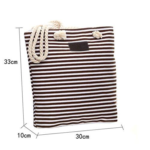 AiSi Canvas Damen Strandtasche Schultertasche Handtasche Marine Style streifen Shopper mit Reissverschluss 30 X 33 X 10 cm Blau Kaffee Rot Schwarz Kaffee