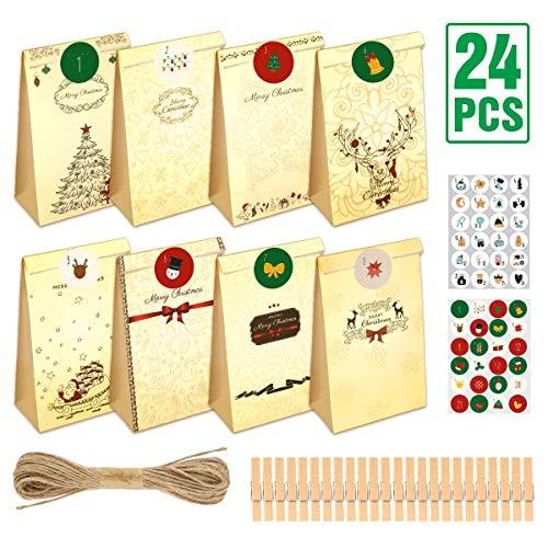 Aitsite 24 PCS Bolsas Papel para Dulces Navidad Santa Christmas Papel Bag Caday para Fiestas, Navidad,24 Paper Bag +48 Pegatinas Papel + 24 Mini Clips Madera +1 Cordones Yute(10m)