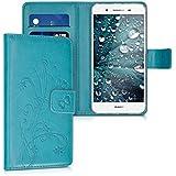 kwmobile Funda para Huawei GR3 / P8 Lite SMART - Wallet Case plegable de cuero sintético - Cover con tapa tarjetero y soporte Diseño hiedra mariposa en azul oscuro