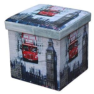 TrendLine Faltbar Sitzhocker London 100 kg Aufbewahrungsbox Sitztruhe Sitzwürfel