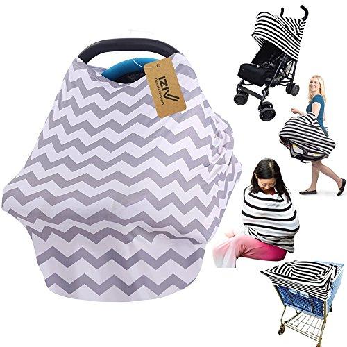 iZiv Ultrasoft 4-en-1 Multi-usan Algodón Enfermería Lactancia Materna, Baby Set de Coche para Toldo Carrito de la Compra Cubierta Swaddle Manta para Bebés Recién Nacidos Niños Ducha Regalo (Color-1)