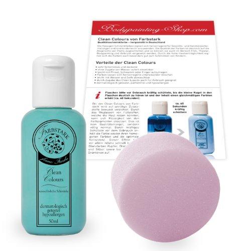 Farbstark Bodypainting Farben - hautfreundliche Körperfarbe in Profi Qualität (auch für Airbrush geeignet), Set: 50 ml Farbe + Schminkschwamm (Türkis) (Löwe Kostüm Make Up)