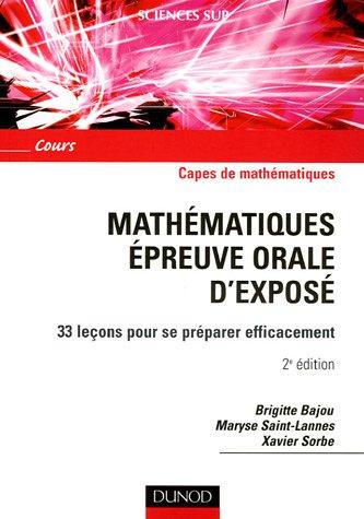 Mathématiques épreuve orale d'exposé : 33 l...