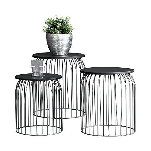 [en.casa] Stylischer Metallkorb – Beistelltisch / Couchtisch