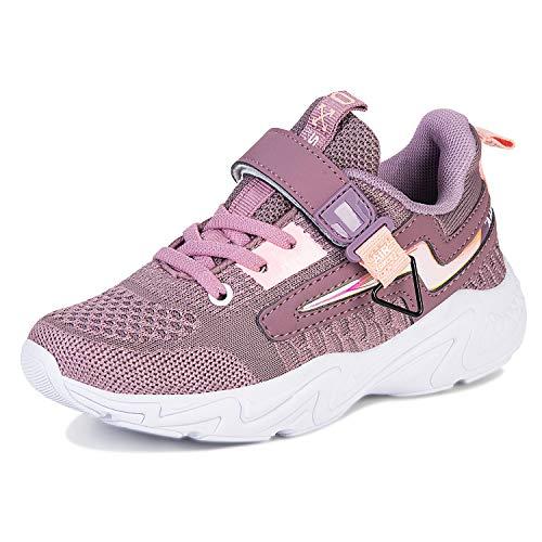 Laufschuhe Kinder Mädchen Sportschuhe Atmungsaktiv Leicht Turnschuhe Klettverschluss Outdoor Fitnessschuhe Sneakers für Gym Indoor Unisex-Kinder(Violett.YF655,33 EU)