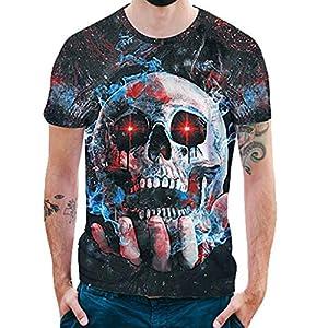 Manadlian Herren T-Shirts Kurzarm Sommer Männer 3D-Druck Schädel Beiläufig Schlank Bluse Junge Tops Einfarbig Lässiger Knopf Kurzarm T-Shirt Tops