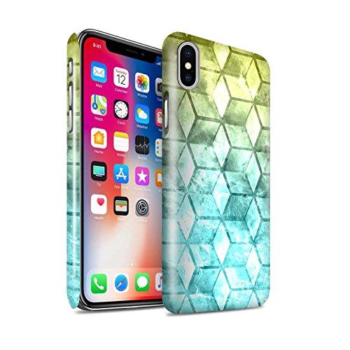 STUFF4 Glanz Snap-On Hülle / Case für Apple iPhone X/10 / Blau/Grün Muster / Bunte Würfel Kollektion Gelb/Blau
