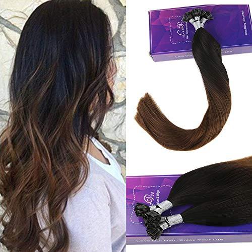 Laavoo 45 cm fusion capelli extension veri con cheratina 1gr*50ciocche pre bonded flat tip keratina extension dritto ombre nere a castano #1b/4