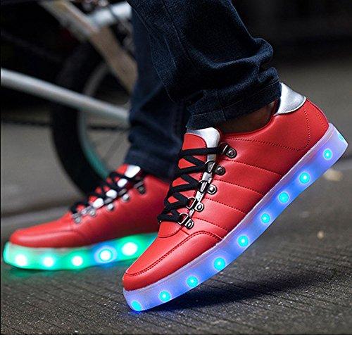 UDreamTime Mens Conduit Lumière Tarification Chaussures Souliers Flash usb Rouge