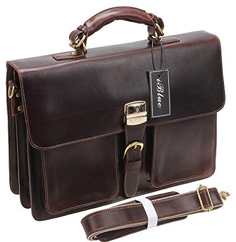 Iblue cuir véritable messager Messenger épaule Laptop Work Tote Bag # F-001