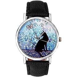 Tyler Hancock - Reloj de pulsera para mujer con motivo de gato, cuarzo analógico, moderno