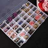The Nourisher 36 Grid Cells Multipurpose Clear Transparent Plastic Storage Box with Removable Dividers