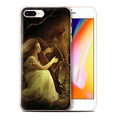 Officiel Elena Dudina Coque / Etui pour Apple iPhone 8 Plus / Harpe/Harpiste Design / Réconfort Musique Collection Mélodie du Silence