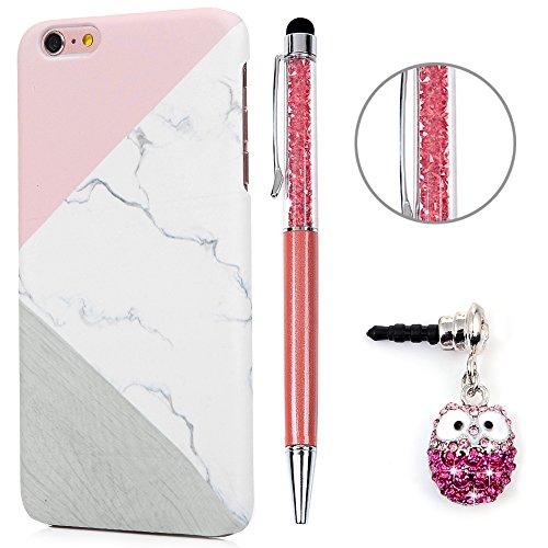 iPhone 6S Plus Hülle Case,KASOS Handyhülle : für iPhone 6 Plus tasche Schale Protective Case Cover Hart PC Backcase Design in Pulver Kalk Mosaik + Touch Pen + Stöpsel Staubschutz (Tasche Kalk Von)