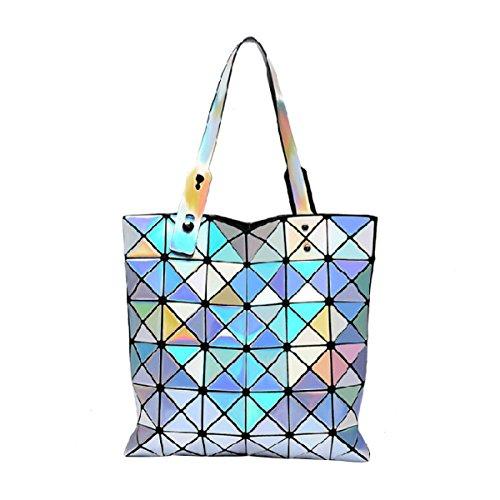 ADEFG Damen Handtaschen Hologramm Geometrische Split Joint Plaid Tragetaschen,A-OneSize