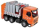 Lena 20102 - Starke Riesen Müllwagen Mercedes Benz Arocs, orange / silber, ca. 74 cm, Müllfahrzeug mit 3 Achsen, großes Spielfahrzeug für Kinder ab 3 Jahre, robustes Müllauto mit Funktion und Zubehör