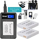 TOP-MAX® 2X NB-6L NB-6LH Battery + Rapid USB Charger with LCD Screen for Canon SX710 HS,SX610 HS,SX520 HS,SX700 HS,SX600 HS,D30,SX500 IS