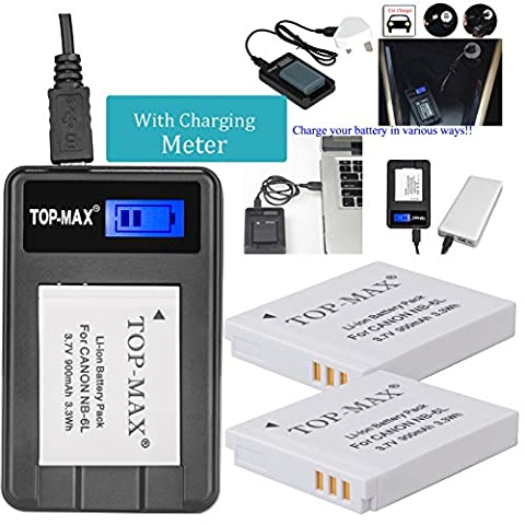 TOP-MAX® 2X NB-6L NB-6LH Battery + Rapid USB Charger with