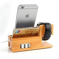 BNTTEAM Apple Watch y la estación de carga de iPhone Soporte de cargador de madera de bambú Base de carga para iwatch iphone 7 6 6s más 5 5s 5c con 3 puertos USB (soporte de bambú - USB)