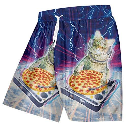 Kostüm Hop Hip Cat - Sommer Strand Shorts Männer Lustige Print Pizza Katze Raum 3D Schweiß Badehose Mann Badeanzüge Schnell Trockene Bermuda Shorts Pizza Cat Space M