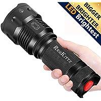 Torche Lampe de Poche LED, Super Grande Lampe de Torche Militaire Tactique Ultra Puissante Ajustable Zoomable Étanche Torche, pour les Activités Extérieurs ou Bricolage