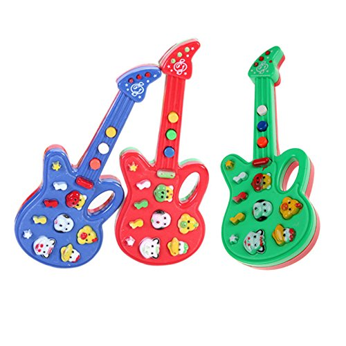 Monbedos Mini guitarra eléctrica juguete para niños dibujos animados
