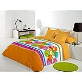 Reig Martí Compy - Juego de funda nórdica estampada, 3 piezas, para cama de 135 cm, color naranja