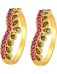 Much More Ethnic Gold Tone Toe Ring With Crystal Stone Traditional Jewellery For Women
