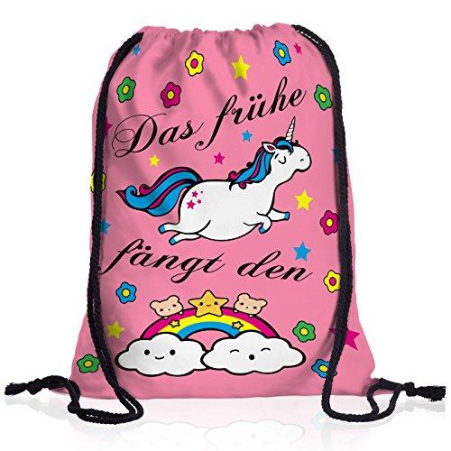 style3 Das frühe Einhorn fängt den Regenbogen Rucksack Tasche Turnbeutel Sport Jute (Einhorn Kostüm Schwulen)