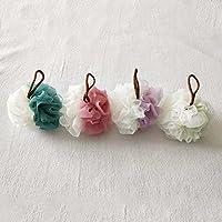 Kaige Artículos de tocador de baño costura baño flor baño bola doble color bola de baño de espuma rica un paquete de cuatro piezas