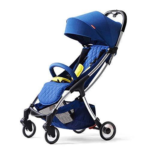 ALIFE Kinderwagen Leichte Tragbare Falten VierräDern Push Kann Sitzen Liegen Kinderwagen Regenschirm Kinderwagen Bb Auto,Blue